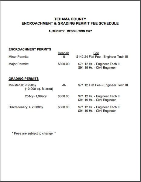 Encroachment & Grading Permit Fees