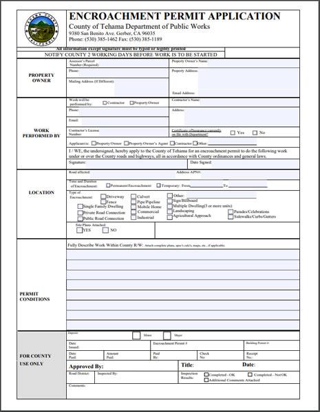 Encroachment Permit Application